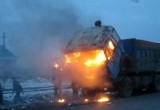 В Вологодской области на дороге заполыхал КАМАЗ